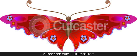 Stylised butterfly stock vector clipart, An illustration of a beautiful Stylised Butterfly. No meshes used.  by Christos Georghiou