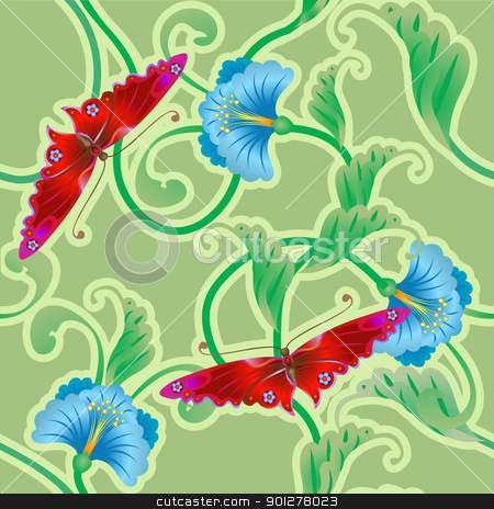 japanese style background stock vector clipart, A beautiful butterfly and flower oriental tileable seamless repeating background. No meshes used  by Christos Georghiou