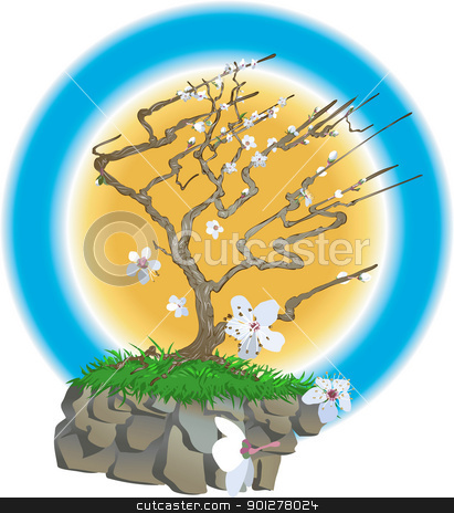 japanese tree illustration stock vector clipart, An oriental style blossom tree on a wind swept cliff top with blossom flowers bowing about  by Christos Georghiou