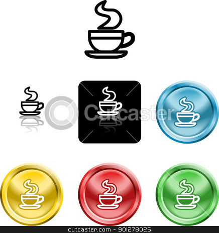 coffee cup icon symbol stock vector clipart, Several versions of an icon symbol of a stylised coffee cup  by Christos Georghiou