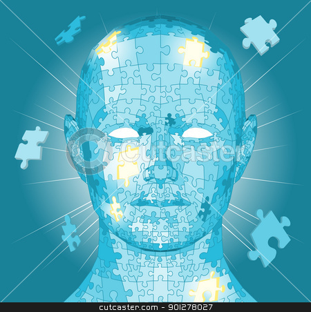 Jigsaw puzzle pieces head stock vector clipart, Jigsaw puzzle pieces forming a human head. Conceptual piece by Christos Georghiou