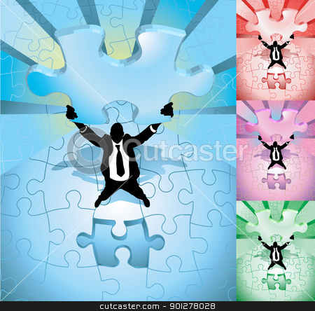 jigsaw business concept illustration stock vector clipart, A business man completing a jigsaw puzzle, main image on separate layers for easy editing. Also includes several different color versions  by Christos Georghiou