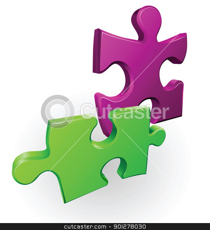 jigsaw pieces stock vector clipart, Illustration of two jigsaw puzzle pieces by Christos Georghiou