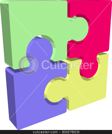jigsaw Illustration stock vector clipart, Illustration of Jigsaw puzzle pieces  by Christos Georghiou