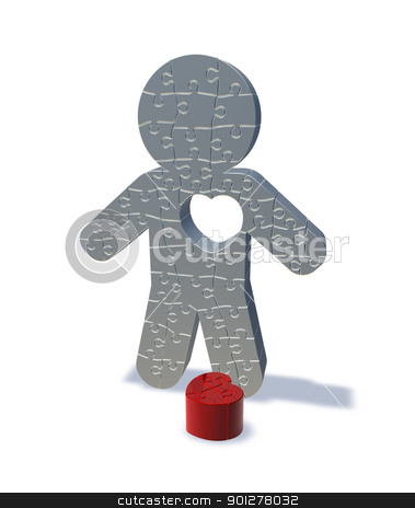 Love lost, 3d render jigsaw man  stock photo, 3d render illustration of a jigsaw man with his heart cut out, representing love lost. by Christos Georghiou