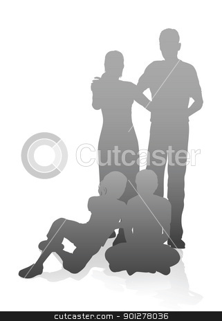 Family in very detailed silhouettes stock vector clipart, Illustration of a family in very detailed silhouettes by Christos Georghiou