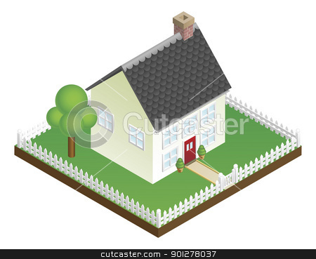 Quaint house with picket fence isometric view stock vector clipart, A quaint house with picket fence in isometric view by Christos Georghiou
