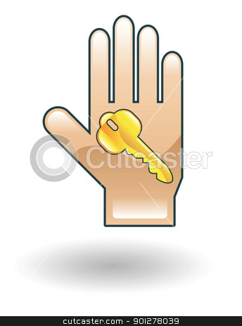 key in hand Illustration stock vector clipart, Illustration of a hand and key  by Christos Georghiou