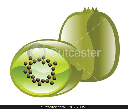 kiwi fruit illustration stock vector clipart, Illustration of kiwi fruit by Christos Georghiou
