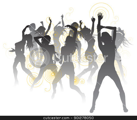 Beautiful dancers background stock vector clipart, Background illustration with silhouettes of sexy beautiful women dancing by Christos Georghiou