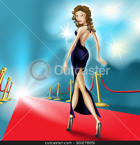 Beautiful elegant woman on the red carpet stock vector clipart, Fashion Illustration of beautiful elegant woman on the red carpet with flash photography in the background. Perhaps a  celebrity at an exclusive premier. by Christos Georghiou