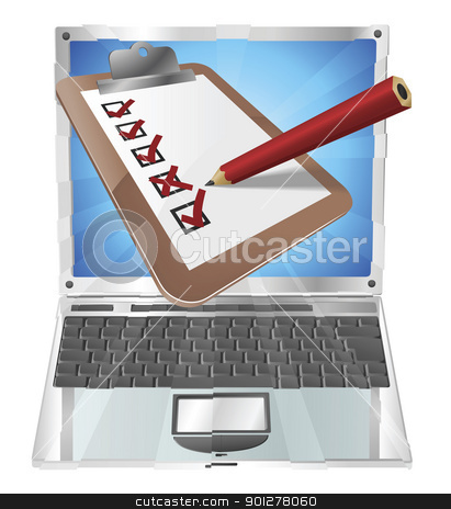 Online survey laptop clipboard concept  stock vector clipart, An illustration of a clipboard with pencil marking on it  coming out of laptop screen. Perhaps an online survey, opinion poll, or inspection document by Christos Georghiou