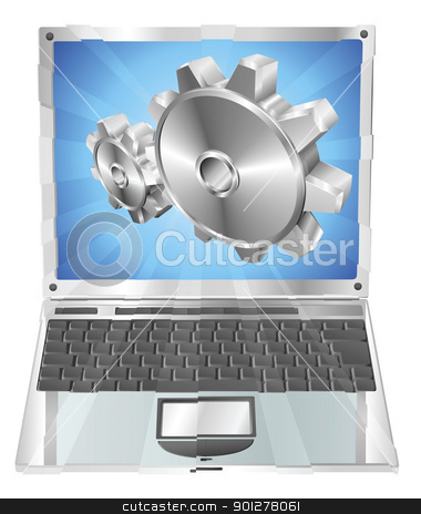 Gear cogs flying out of laptop screen concept stock vector clipart, Gear cogs flying out of laptop screen tune up or settings application concept illustration.  by Christos Georghiou