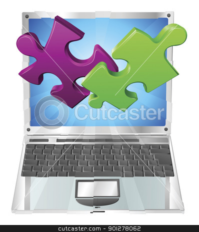 Jigsaw puzzle pieces flying out of laptop computer stock vector clipart, Jigsaw puzzle pieces flying out of a stylish laptop computer. Computer application concept. by Christos Georghiou