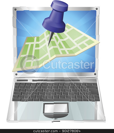 Computer map concept stock vector clipart, A road or city map flying out of a laptop computer. Concept or icon for map app or internet website with maps or other GPS related. by Christos Georghiou