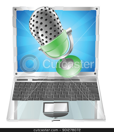 Microphone flying out of laptop screen concept stock vector clipart, A microphone flying out of laptop screen. Concept for anything relating to online or computer recordings or music by Christos Georghiou