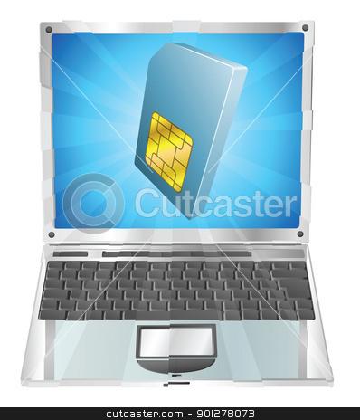 Phone SIM card icon laptop concept stock vector clipart, Phone SIM card icon coming out of laptop screen concept by Christos Georghiou