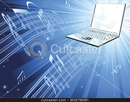 Laptop computer music background stock vector clipart, Blue laptop computer music background with musical notes streaming out of laptop by Christos Georghiou