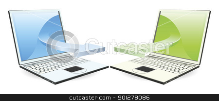 Laptops communicating stock vector clipart, Laptops communicating via wireless technology concept by Christos Georghiou