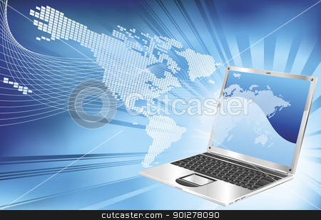 Laptop word map business background stock vector clipart, A blue laptop word map globe business concept background illustration.  by Christos Georghiou