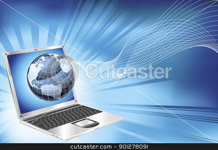 Laptop word map globe business background stock vector clipart, A blue laptop word map globe business concept background illustration.  by Christos Georghiou
