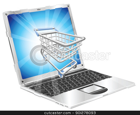 Internet shopping laptop concept stock vector clipart, Internet shopping laptop concept illustration. Shopping cart flying out of laptop screen. by Christos Georghiou