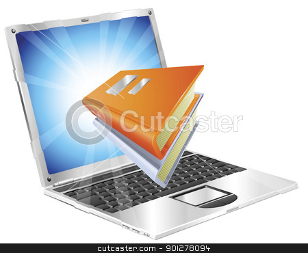 Books icon laptop concept stock vector clipart, Book icon coming out of laptop screen concept for ebooks, reader apps,  online database, elearning. by Christos Georghiou