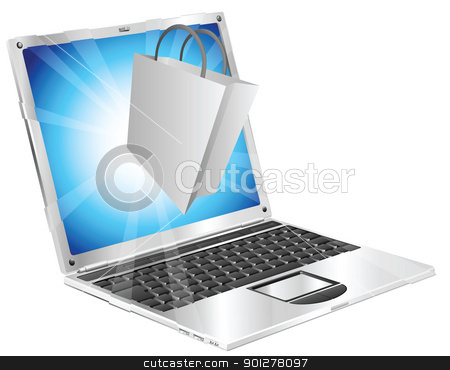 Online shopping concept  stock vector clipart, Shopping bag icon coming out of laptop screen online shopping concept  by Christos Georghiou