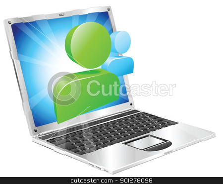 Social media icon laptop concept stock vector clipart, Social media icon coming out of laptop screen concept by Christos Georghiou