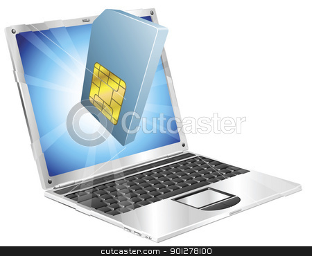 Phone SIM card icon laptop concept stock vector clipart, Phone SIM card icon coming out of laptop screen concept by Christos Georghiou