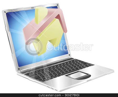 Home icon laptop concept stock vector clipart, House home icon coming out of laptop screen concept by Christos Georghiou