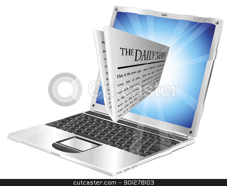 Newspaper laptop concept stock vector clipart, Newspaper coming out of laptop screen concept by Christos Georghiou