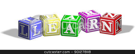 Learn alphabet blocks stock vector clipart, Alphabet letter blocks forming the word learn by Christos Georghiou