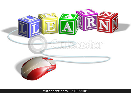 Learn alphabet blocks with computer mouse stock vector clipart, Learn alphabet blocks with computer mouse by Christos Georghiou