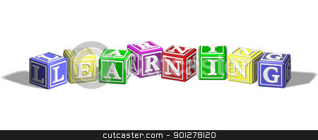 Learning alphabet blocks stock vector clipart, Alphabet letter blocks forming the word learning by Christos Georghiou