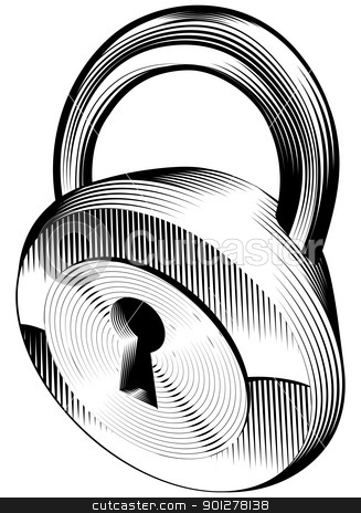 black and white padlock stock vector clipart, a black and white illustration of a padlock by Christos Georghiou