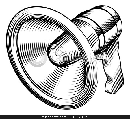 black and white megaphone stock vector clipart, a black and white illustration of a megaphone by Christos Georghiou