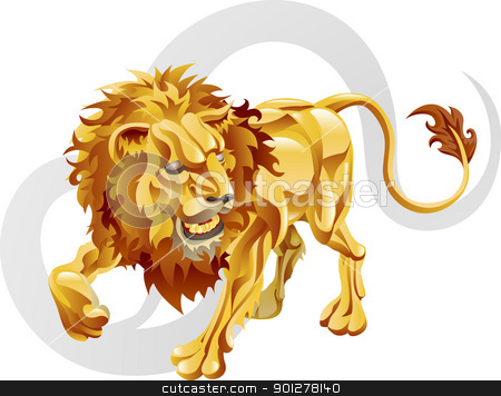 Leo the lion star sign stock vector clipart, Illustration representing Leo the lion star or birth sign. Includes the symbol or icon in the background by Christos Georghiou