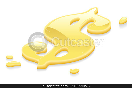Liquid gold dollar symbol sign stock vector clipart, Illustration of a liquid gold metal dollar symbol by Christos Georghiou