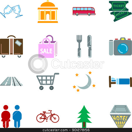 location tourism icons stock vector clipart, Icon set relating to city or location information for tourist web sites or maps etc.  by Christos Georghiou