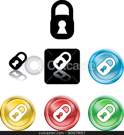 Padlock icon symbol stock vector clipart, Several versions of an icon symbol of a stylised padlock   by Christos Georghiou