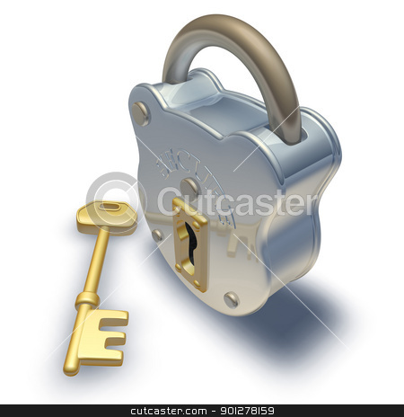 padlock and key  stock photo, 3d render of padlock and key illustration by Christos Georghiou