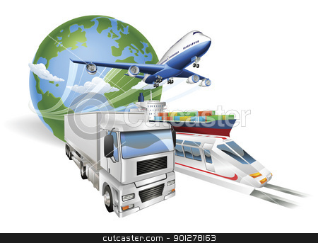 Global logistics concept airplane truck train ship stock vector clipart, Global logistics concept illustration.. Globe, airplane (aeroplane), truck, train and cargo container ship. by Christos Georghiou