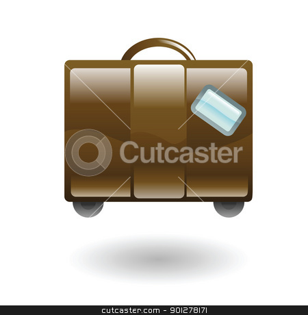luguage illustration stock vector clipart, Illustration of brown luggage by Christos Georghiou