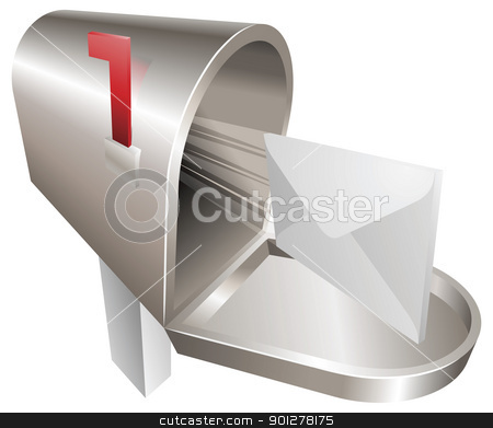 Mailbox illustration concept stock vector clipart, A traditional metal mailbox with letter flying out of it by Christos Georghiou