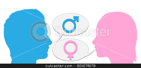 Man and woman conversation silhouette stock vector clipart, Man and woman talking to each other in silhouette. by Christos Georghiou