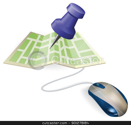 Mouse and map concept stock vector clipart, Concept. A mouse connected to a paper map. by Christos Georghiou
