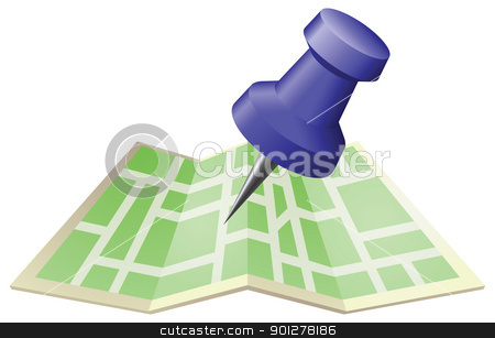 Illustration of a street map with drawing push pin stock vector clipart, An illustration of a street map with drawing push pin. Can be used as an icon or illustration in its own right. by Christos Georghiou