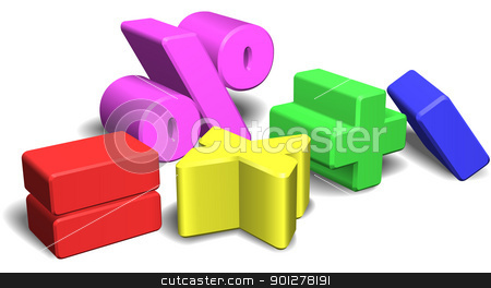 3d math symbols or signs stock vector clipart, An illustration of a set of colorful 3d math symbols or signs by Christos Georghiou