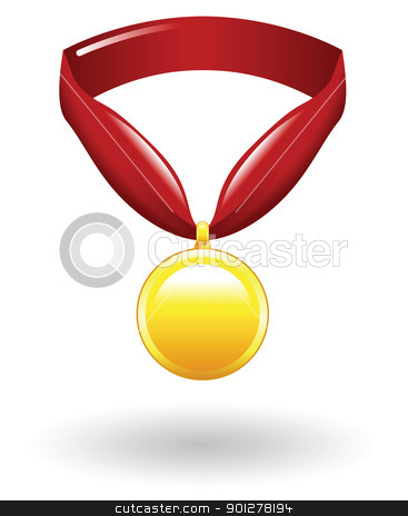 medal Illustration stock vector clipart, Illustration of a gold medal by Christos Georghiou